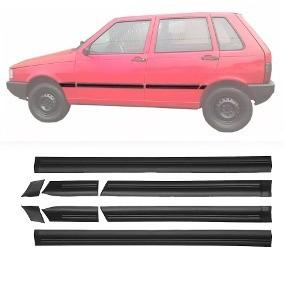 Friso Lateral - Fiat Uno 88/94 4 Portas Largo Preto Jogo 8 Peças