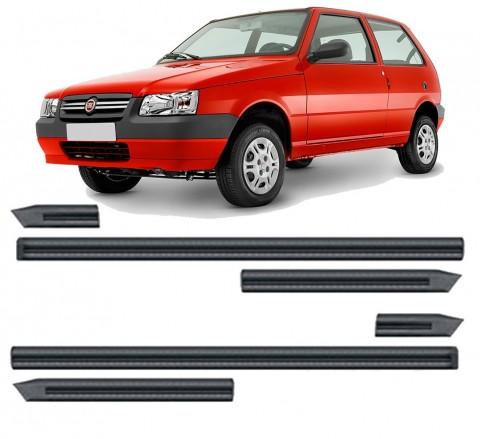 Friso Lateral - Fiat Uno 89/94 Largo Preto Auto Colante Jogo 6 Peças 60 mm